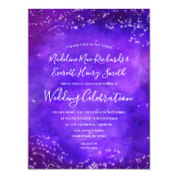 Starry Night Galaxy Magnetic Wedding Invitation