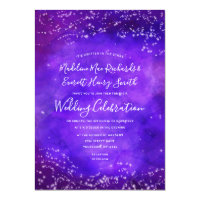 Starry Night Galaxy Watercolor Wedding Invitation