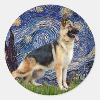 Starry Night - German Shepherd 13 Round Stickers
