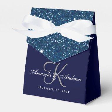 Starry Night Glitter Monogram Wedding Favor Box