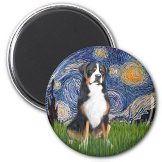 Starry Night-Greater Swiss Mountain Dog 2 Inch Round Magnet