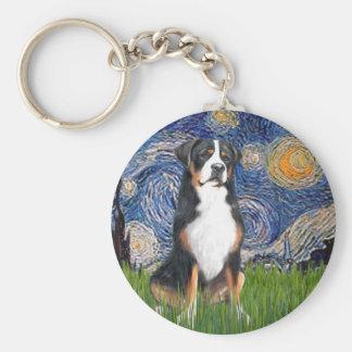 Starry Night-Greater Swiss Mountain Dog Basic Round Button Keychain