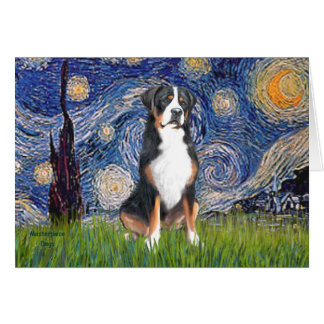 Starry Night-Greater Swiss Mountain Dog Greeting Card