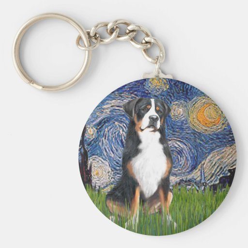 Starry Night-Greater Swiss Mountain Dog Keychains