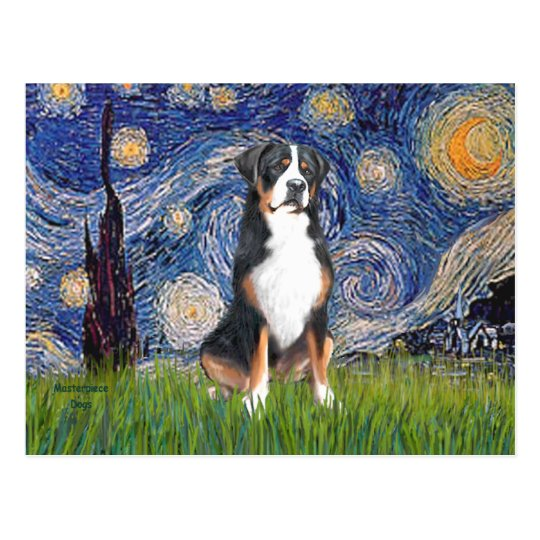 Starry Night-Greater Swiss Mountain Dog Postcard