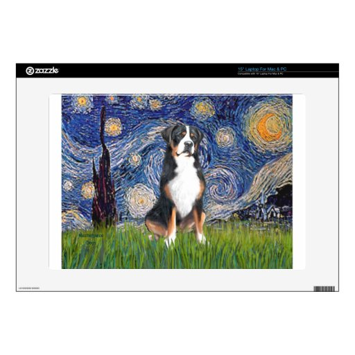 """Starry Night-Greater Swiss Mountain Dog Skins For 15"""" Laptops"""