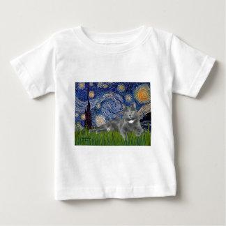 Starry Night - Grey cat Baby T-Shirt