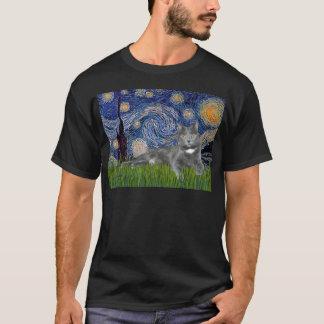Starry Night - Grey cat T-Shirt