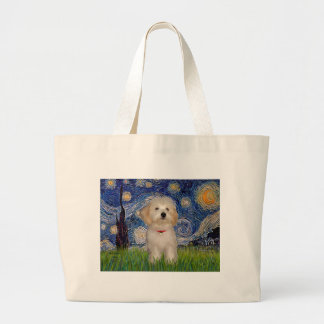 Starry Night - Havanese Puppy Large Tote Bag