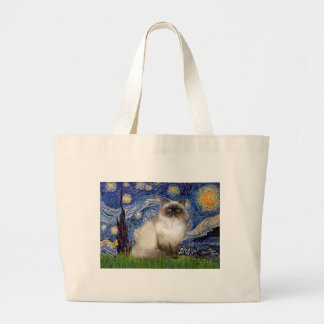 Starry Night - Himalayan cat 7 Large Tote Bag