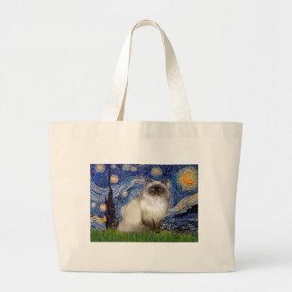 Starry Night - Himalayan cat 7 Large Tote Bag