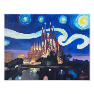 Starry Night in Barcelona  with Sagrada Familia Poster