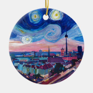 Starry night in Berlin Ceramic Ornament