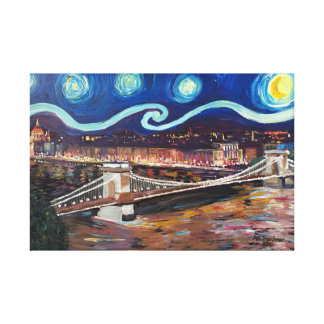 Starry night in Budapest Hungary with Danube Canvas Print
