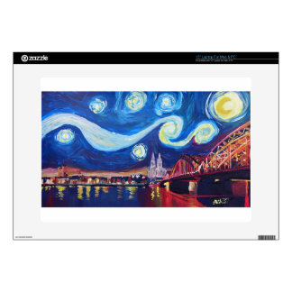 Starry night in Cologne Germany Decal For Laptop