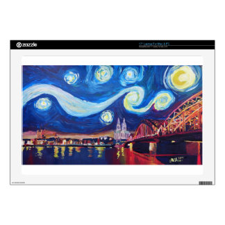 """Starry night in Cologne Germany Decals For 17"""" Laptops"""