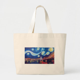Starry night in Cologne Germany Large Tote Bag
