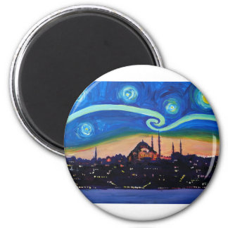 Starry Night in Istanbul Turkey Magnet