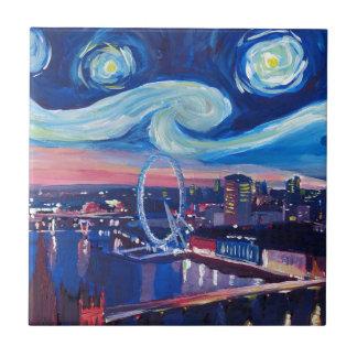 Starry night in London Tile