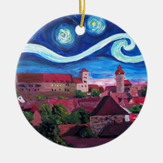 Starry Night in Nuremberg Germany with Castle Ceramic Ornament
