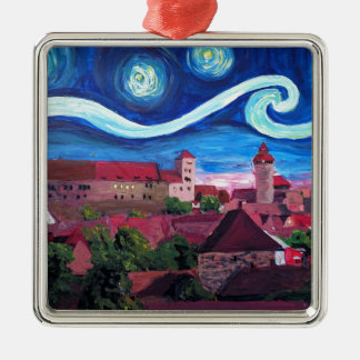 Starry Night in Nuremberg Germany with Castle Metal Ornament