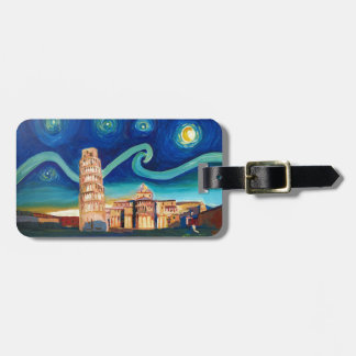 Starry Night in Pisa with Leaning Tower Bag Tag