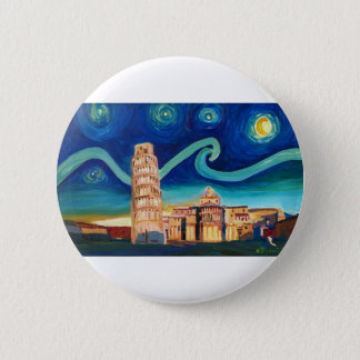 Starry Night in Pisa with Leaning Tower Button