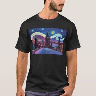 Starry Night in Prague  with Carlsbridge T-Shirt