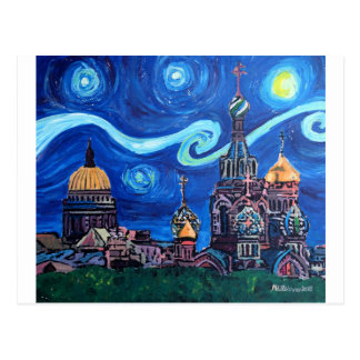 Starry Night in St Petersburg Russia Postcard
