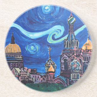 Starry Night in St Petersburg Russia Sandstone Coaster
