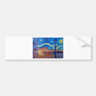 Starry Night in Venice Italy - San Marco with Lion Bumper Sticker
