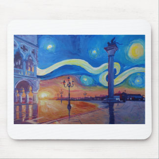 Starry Night in Venice Italy - San Marco with Lion Mouse Pad