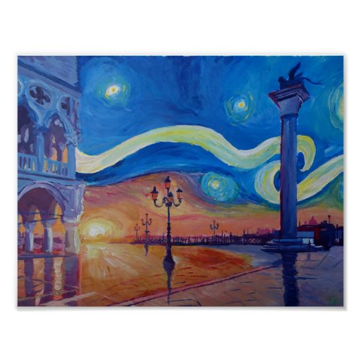 Starry night in Venice Italy - San Marco with lion Poster