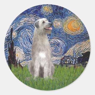 Starry Night - Irish Wolfhound Classic Round Sticker