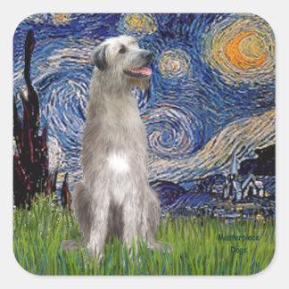 Starry Night - Irish Wolfhound Square Sticker