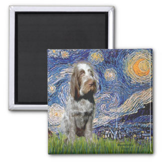 Starry Night - Italian Spinone (roan) 2 Inch Square Magnet