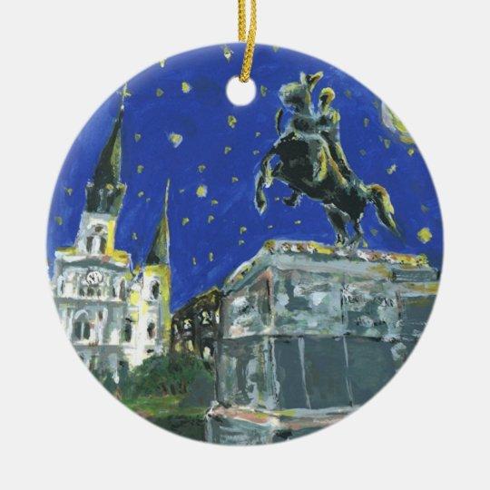 Starry Night Jackson Square Ceramic Ornament