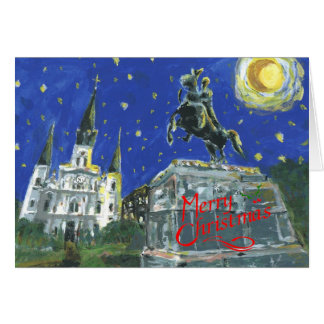 Starry Night Jackson Square Merry Christmas Card