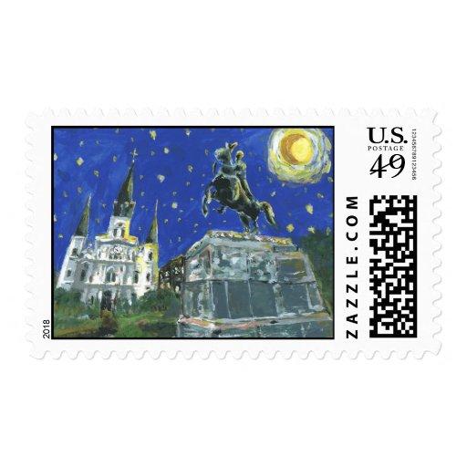 Starry Night Jackson Square Postage Stamp