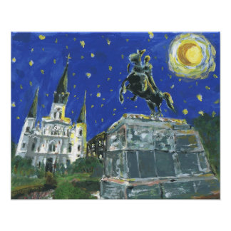 Starry Night Jackson Square Poster
