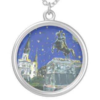 Starry Night Jackson Square Silver Plated Necklace