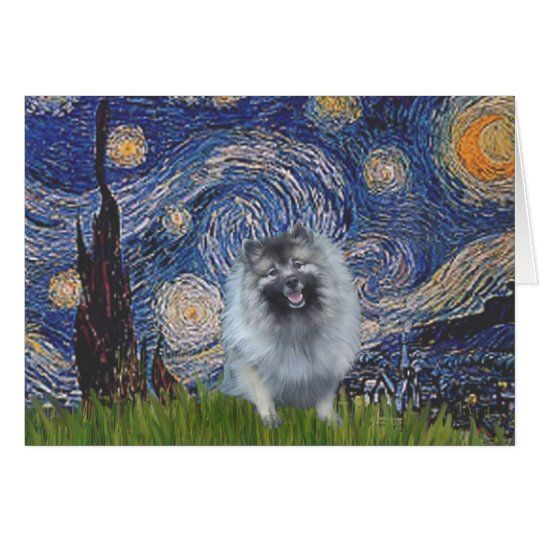 Starry Night - Keeshond (F) Card