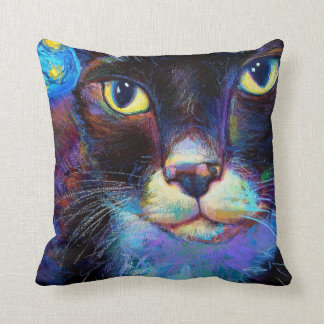 Starry Night Kitty Throw Pillow