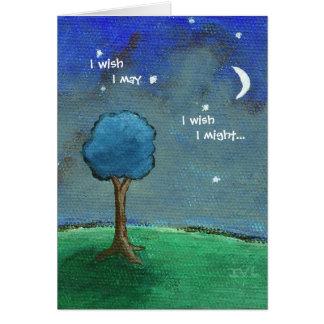 Starry Night, Landscape Art Tree Stars Moon Card