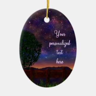 Starry Night Landscape - with customizable text - Ceramic Ornament