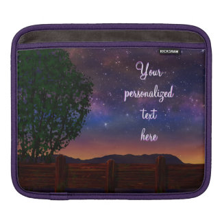 Starry Night Landscape - with customizable text - iPad Sleeve