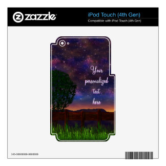 Starry Night Landscape - with customizable text - iPod Touch 4G Decals