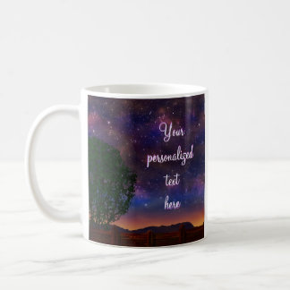 Starry Night Landscape - with customizable text - Classic White Coffee Mug