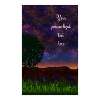 Starry Night Landscape - with customizable text - Poster