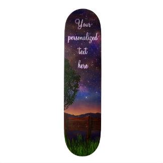 Starry Night Landscape - with customizable text - Skateboard Deck